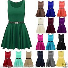 Womens Sleeveles Flared Franki Party Belt Swing Skater Dress Top Plus Size 8-26