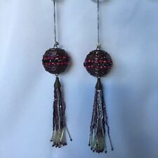 Set of 2 Christmas Tree Ornament Ball Bead Pink Purple Tassel Home Decoration