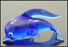 "Dolphin Porpoise Miniature Figurine Glass cobalt blue approx 1.5"" long"
