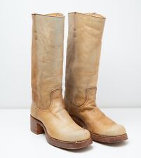 Vintage 1970s FRYE Size 8.5 B Tall Campus Boots Carmel Rust Leather Black Label