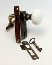 Antique Cast Iron Lock Set with Porcelain Knob & Brass Lever