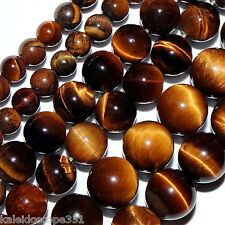 "GEMSTONE TIGER EYE STONE BEADS 16"" STRANDS 6MM ROUND TIGEREYE S129"