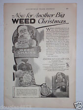 1924 WEED CHAINS - AMERICAN CHAIN CO. ADVERTISEMENT .