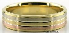 MENS 14K THREE TONE GOLD WEDDING BANDS,TWO TONE WEDDING RINGS