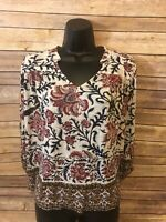 Womens Lucky Brand 3/4 Sleeve Shirt Size Small Blouse Top Floral Rose Navy Blue