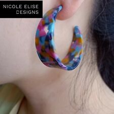 Graffiti Hoops- C Shape Acrylic Earrings for pierced ears 5cm - Carrie