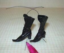 Miniature Dolls Cobbler Black Leather Witch's Boots: DOLLHOUSE Miniatures 1:12