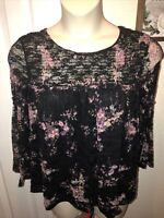 Womens Time & Tru XL 16-18 Lace Floral Blouse Top Shirt Sheer Bell Sleeves Lined