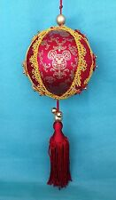 Disney Parks Authentic Mickey Mouse Victorian Fabric Red Ball Christmas Ornament