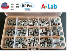 Aluminum Rivet Nut  Kit Metric Rivnut Nutsert Assort M3 M4 M5 M6 M8 Pack 150 pcs
