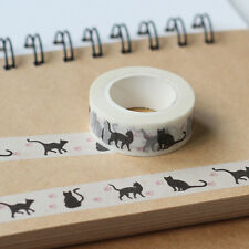 1.5cm*10m Black Cat Washi Tape DIY Decoration Scrapbooking Adhesive Masking Tape