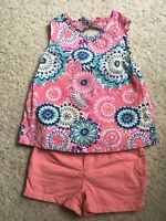 Gymboree Girl 3t Peach Summer Floral Shorts Outfit!