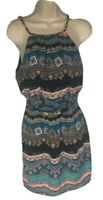 Teeze Me Aztec pattern silky dress Chain spaghetti straps. Juniors size 5 Blue