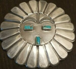 """NAVAJO STERLING SILVER AND TURQUOISE SUNFACE PIN BROOCH 2 1/4"""" 30 GRAMS!!!"""