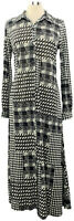 ATTITUDES by Renee Small Black Menswear Patchwork Print Button Front Maxi Dress