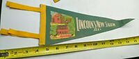 ILLINOIS LINCOLN'S NEW SALEM ABRAHAM ANTIQUE-VTG PENNANT BANNER SOUVENIR RARE