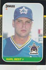 FREE SHIPPING-MINT-1987 Donruss Seattle Mariners Baseball Card #198 Karl Best