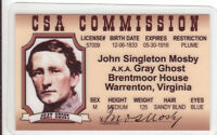Civil War collector card The GRAY GHOST John Singleton Mosby Drivers License