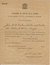 "Scarce ""Jurors Citation"" from Glasgow, 1920"