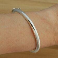 925 Sterling Silver Bangle Bracelet Plain 5mm Wide D-Shape Hinged UK Hallmarked