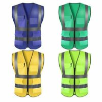 Reflective High Visibility Traffic Road Construction Safety Jacket Vest 7 Colors