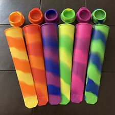 6 Silicone Popsicle Mold Ice Pop Maker Ice Cream Swirl Colors Attached Lid