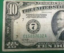 """1928A $10 """"Redeemable in GOLD"""" """"BIG 7"""" Chicago X632 FINE! Old US Currency"""