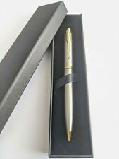 Stylish Silver & Gold Ballpoint Pen Stainless Steel Biro Blue Ink With Box
