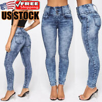 Women's Stretchy Pencil Pants High Waist Skinny Denim Jeans Casual Slim Trousers
