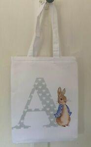 LAST FEW Personalised Peter rabbit initial ~ *MINI* white tote bag baby gift bag
