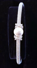 Authentic Swarovski Originally Bangle Crystal & Pearl Chain Bracelet 5461083 NEW