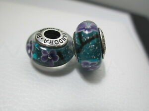 2 Pandora Silver 925 Ale Murano Bead Charm Plum Turquoise Blue Lavender Purple