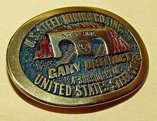 US STEEL MINING BELT BUCKLE GARY DISTRICT 1983 LIMITED ED NO 876 BRASS YELLOW.