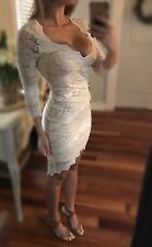 Sexy White And Nude Lace BEBE Stretch Bodycon Dress Xs S