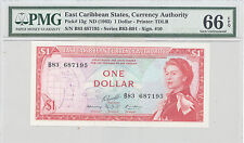1965 East Caribbean States, Currency Author 1 Dollar PMG 66 EPQ GEM UNC, P#: 13g