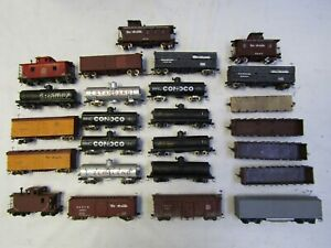 HOn3  25 PC FREIGHT CAR ASSORTMENT GONS, TANKS, CABOOSES, BOXCARS FLATCAR