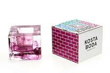 More details for kosta boda purple brick tealight / candle holder anna ehrner boxed