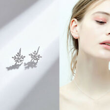 Fashion Crystal Snowflake Stud Earrings Women Lovely Jewelry Fashion Gifts