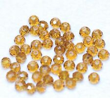 50 CRYSTAL GLASS FACETED SUNCATCHER 6 x 4mm BEADS - GOLDEN (BBA002)