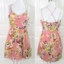 Charlotte Russe Women's Peach Floral Day Dress Juniors Size Large L Padded Poofy