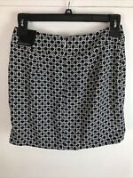 NWT Banana Republic Womens Straight Skirt Size 6 Black White Geometric Polyester