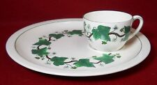 WEDGWOOD china NAPOLEON IVY GREEN AL4751 pattern Snack Plate & Cup - 10-3/4""