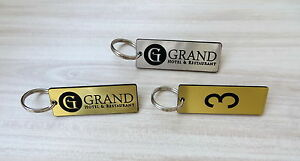 Set of 10 Hotel personalised key tags with logo, keyrings, clubs, door, fob