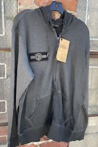 New Harley Davidson Mens Large Sweatshirt Slim Fit Zip Oak Leaf Logo Gray Hoodie