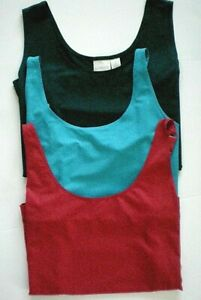 Chico's Sz 2 Lot of 3 Tank Cami Tops Microfiber Solid Red Turquoise Dark Green