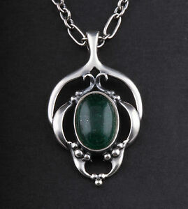 GEORG JENSEN Sterling Silver Pendant Of The Year 2016 with Aventurine. NEW!