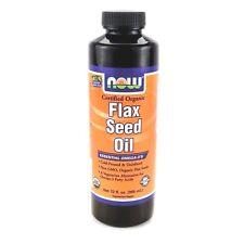 Now Foods FLAX SEED OIL Certified Organic 12 fl oz Liquid Flaxseed VEGAN OMEGA-3