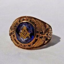 Vintage 10K Yellow Gold United States Army Masonic Ring with Center Blue Stone