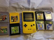 Nintendo Game Boy Color Handheld Console- Yellow with 8 Games Lot Pokemon Blue