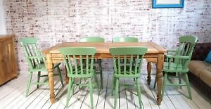 Oak Style Rustic Farmhouse Extending Dining Table Set Painted Chairs & Benches